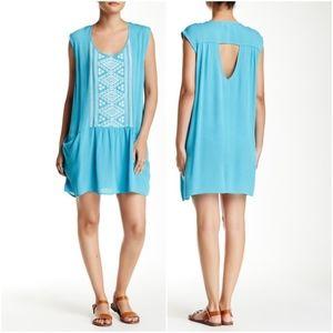 LOVE STITCH BRAND! EMBROIDED BLUE MINI DRESS